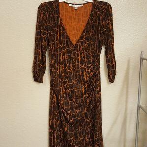 DV Furstenberg Tara-Ann Faux Wrap print dress
